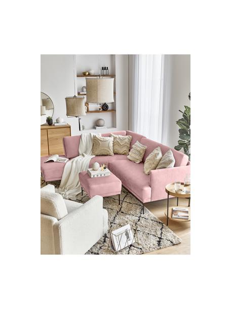 Voetenbank Fluente van fluweel in roze met metalen poten, Bekleding: fluweel (hoogwaardig poly, Frame: massief grenenhout, Poten: gepoedercoat metaal, Fluweel roze, 62 x 46 cm