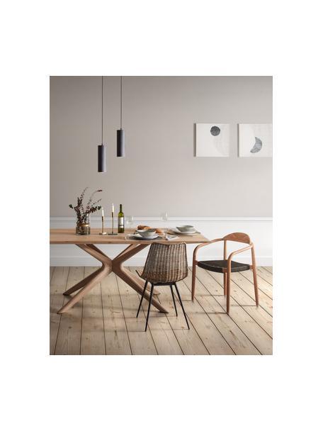 Sedia in rattan Equal, Seduta: rattan, Gambe: acciaio, Marrone, nero, Larg. 48 x Prof. 58 cm
