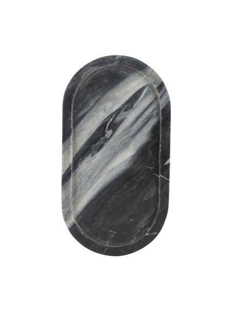 Decoratief dienblad Oval van marmer in zwart-grijs, Marmer, Zwart, grijs, 15 x 28 cm
