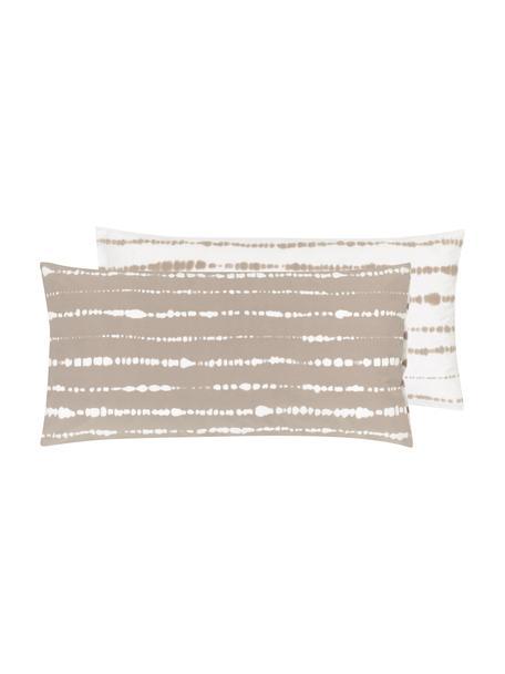 Dwustronna poszewka na poduszkę z organicznego perkalu Remi, 2 szt., Beżowy, biały, S 40 x D 80 cm