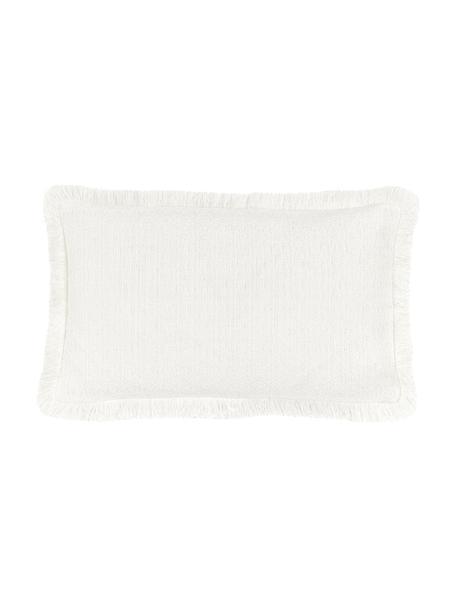 Kissenhülle Lorel in Cremeweiß mit dekorativen Fransen, 100% Baumwolle, Weiß, 30 x 50 cm