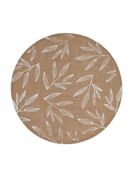 Juten placemats Pep met blad motief, 2 stuks, Jute, Beige, wit, 40 x 40 cm