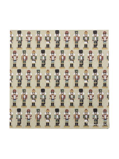 Papier-Servietten Darren mit Nussknacker-Motiven, 20 Stück, Papier, Grün, 33 x 33 cm