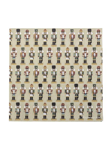 Papieren servetten Darren met notenkraker motief, 20 stuks, Papier, Groen, 33 x 33 cm