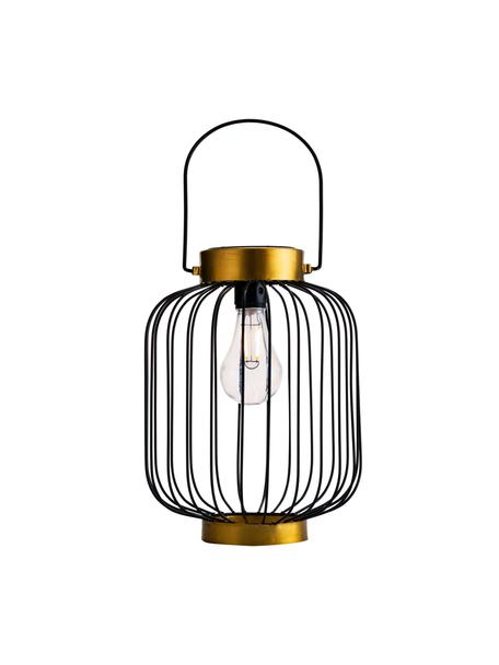 Outdoor solar lamp Wonder om op te hangen of te zetten, Lamp: metaal, Lampenkap: kunststof, Frame: zwart gelakt eikenhout. Voet: goudkleurig, Ø 19 x H 29 cm