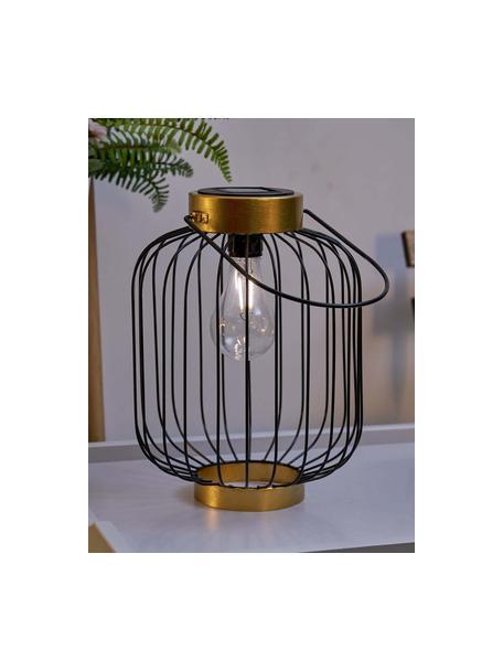 Lampada solare da esterno Wonder, Lampada: metallo, Paralume: materiale sintetico, Nero, dorato, Ø 19 x Alt. 29 cm