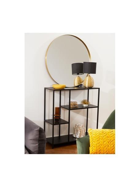 Lampada da tavolo con base dorata Oscar, Base della lampada: ceramica, Nero, dorato, Ø 20 x Alt. 39 cm