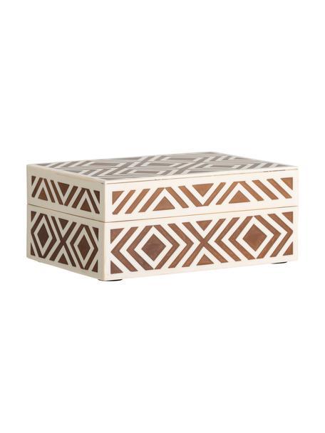 Cofanetto portagioie Henny, Pannello di fibra a media densità (MDF) rivestito con poliresina, Marrone, bianco crema, Larg. 18 x Alt. 8 cm