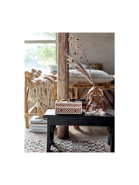 Joyero Henny, Tablero de fibras de densidad media (MDF), poliresina recubierto, Marrón, blanco crema, An 18 x Al 8 cm