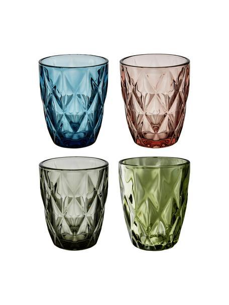 Set de vasos de colores con relieve Colorado, 4pzas., Vidrio, Verde, rosa, azul, gris, Ø 8 x Al 10 cm