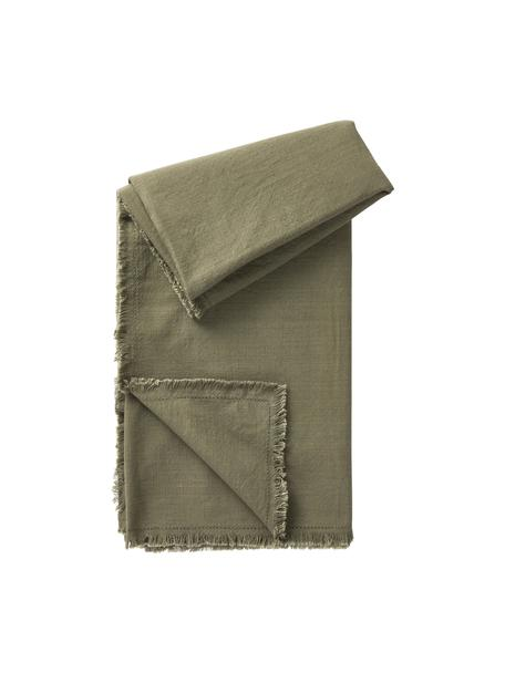 Obrus z bawełny z frędzlami Henley, 100% bawełna, Oliwkowy zielony, Dla 4-6 osób (S 145 x D 200 cm)