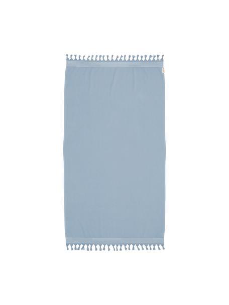 Hamamtuch Soft Cotton mit Frottee-Rückseite, Rückseite: Frottee, Blau, Weiss, 100 x 180 cm