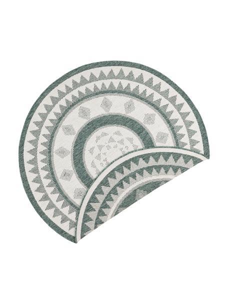 Rond dubbelzijdig in- en outdoor vloerkleed Jamaica in groen/crème kleur, Groen, crèmekleurig, Ø 140 cm (maat M)