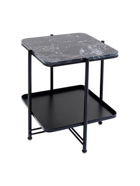 Mesa auxiliar Bennet, con tablero de mármol, Tablero: mármol, Estructura: acero pintado, Negro, An 39 x Al 45 cm