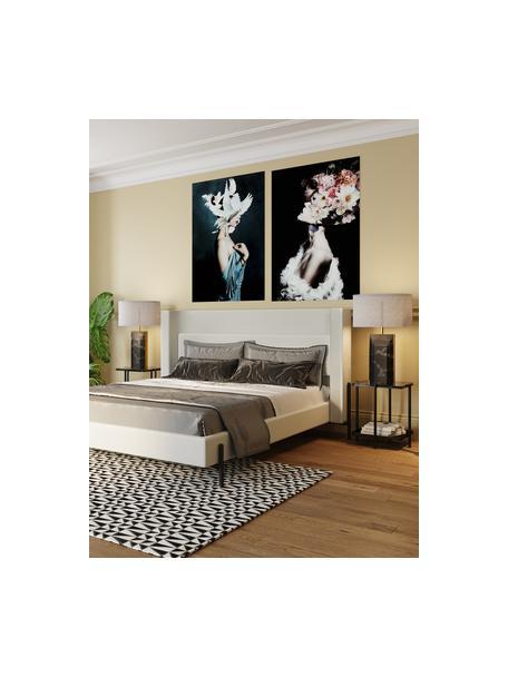 Stolik pomocniczy z marmurowym blatem Bennet, Blat: marmur, Stelaż: stal lakierowana, Czarny, S 39 x W 45 cm