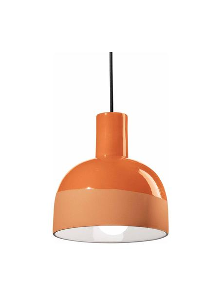 Lámpara de techo pequeña de cerámica Caxixi, Pantalla: cerámica, Anclaje: cerámica, Cable: cubierto en tela, Naranja, Ø 22 x Al 27 cm
