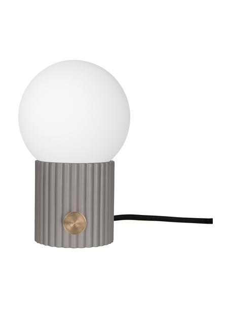 Lámpara de mesa regulable pequeña Hubble, Pantalla: vidrio, Interruptor: metal, Cable: cubierto en tela, Gris, blanco, Ø 15 x Al 24 cm