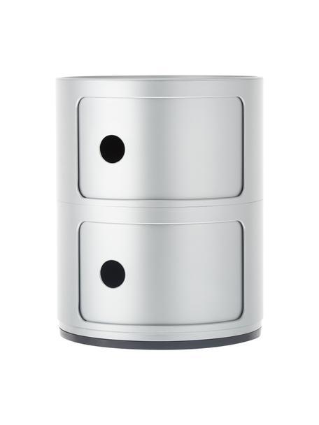 Comodino contenitore di design con 2 cassetti Componibili, Materiale sintetico (ABS), verniciato, Argentato, Ø 32 x Alt. 40 cm