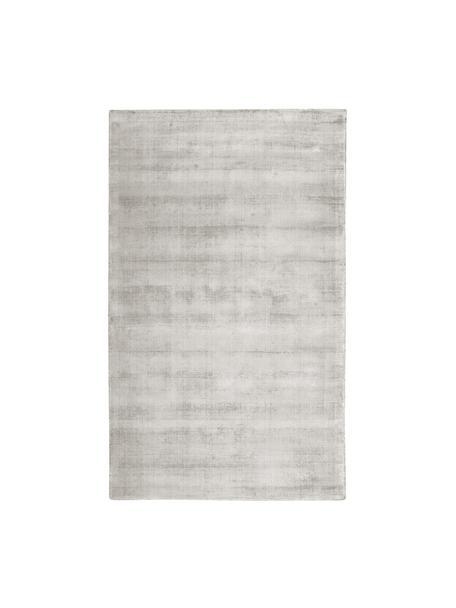 Handgeweven viscose vloerkleed Jane in lichtgrijs-beige, Bovenzijde: 100% viscose, Onderzijde: 100% katoen, Lichtgrijs-beige, B 90 x L 150 cm (maat XS)