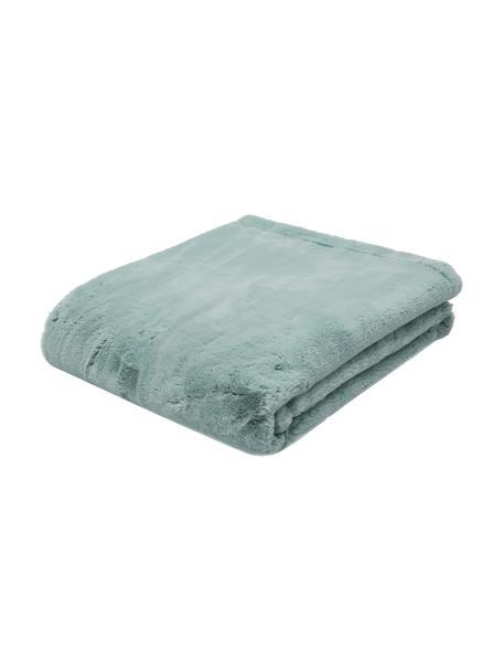 Manta de piel sintética Mette, Parte superior: 100%poliéster, Parte trasera: 100%poliéster, Verde, An 150 x L 200 cm