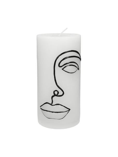 Stumpenkerze Face, Wachs, Weiss, Schwarz, Ø 7 x H 15 cm