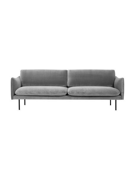 Fluwelen bank Moby (3-zits) in grijs met metalen poten, Bekleding: geweven stof (polyester), Frame: massief grenenhout, Poten: gelakt metaal, Fluweel grijs, B 220 x D 95 cm