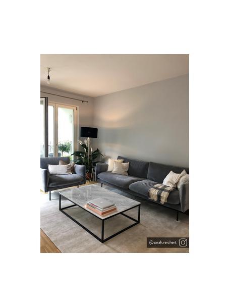Sofa z aksamitu z metalowymi nogami Moby (3-osobowa), Tapicerka: aksamit (wysokiej jakości, Stelaż: lite drewno sosnowe, Nogi: metal malowany proszkowo, Aksamitny szary, S 220 x G 95 cm