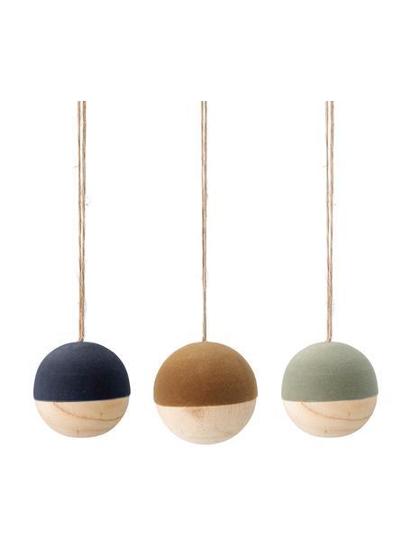 Set 3 palline di Natale in velluto Thace, Legno, velluto di poliestere, Blu scuro, giallo senape, verde menta, legno, Ø 7 cm