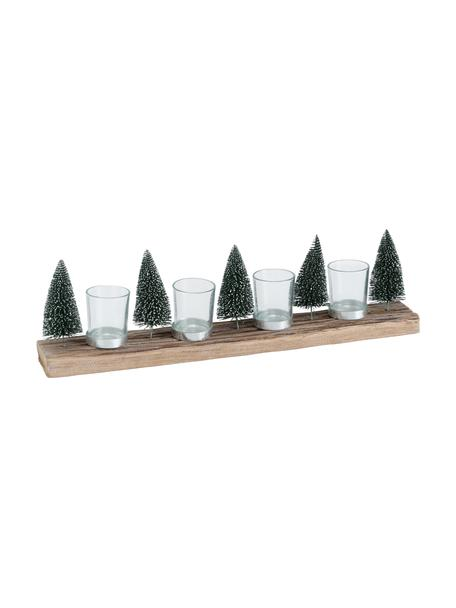 Set de portavelas Tarvino, 5pzas., Portavelas: vidrio, Verde, marrón, An 7 x Al 15 cm