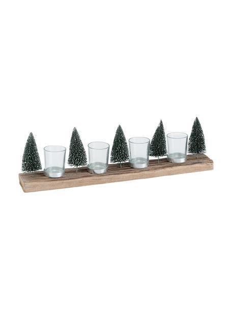Windlichtenset Tarvino, 5-delig, Voetstuk: hout, Decoratie: kunststof, metaal, Windlicht: glas, Groen, bruin, 7 x 15 cm