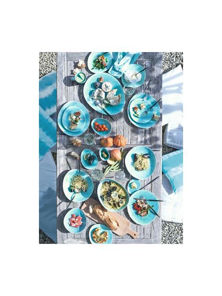 Porzellan-Frühstücksteller à la Plage mit Craquelé-Glasur matt/glänzend, 2 Stück, Porzellan, Craquele-Glasur, Türkis, 20 x 2 cm