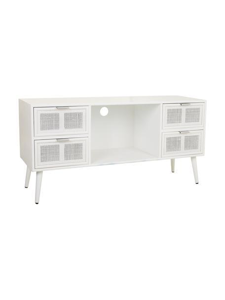 Mobile TV in legno Cayetana, Maniglie: metallo, Piedini: legno di bambù verniciato, Bianco, Larg. 120 x Alt. 60 cm