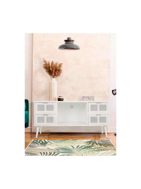 Mobile TV in legno Cayetana, Piedini: legno di bambù verniciato, Bianco, Larg. 120 x Alt. 60 cm