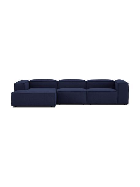 Modulaire XL hoekbank Lennon in blauw, Bekleding: 100% polyester De slijtva, Frame: massief grenenhout, multi, Poten: kunststof De poten bevind, Geweven stof blauw, B 329 x D 180 cm