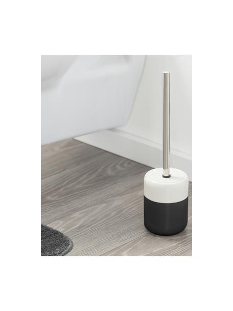 Scopino con contenitore in porcellana Sphere, Recipiente: porcellana, Recipiente: nero, bianco Scopino: acciaio inossidabile, Ø 10 x Alt. 38 cm