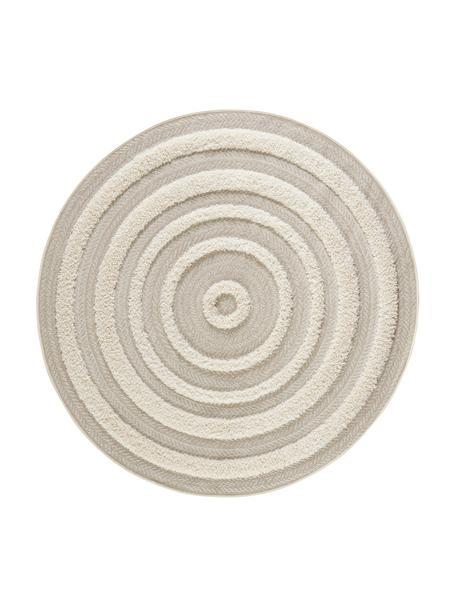 Rond in- en outdoor vloerkleed Nador met hoog-diep effect, Beige, crèmekleurig, Ø 160 cm (maat L)