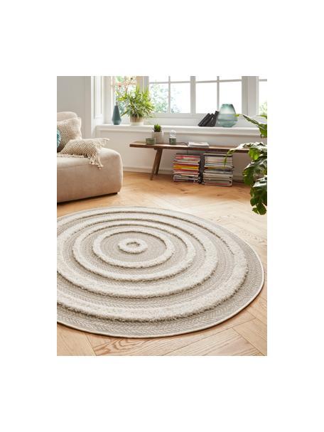 Runder In- & Outdoor-Teppich Nador mit Hoch-Tief-Effekt, 100% Polypropylen, Beige, Cremefarben, Ø 160 cm (Größe L)
