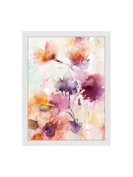 Ingelijste digitale print Abstract Flowers, Afbeelding: digitale print op papier,, Lijst: gelakt hout, Multicolour, 33 x 43 cm