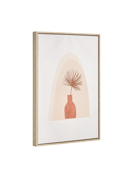 Ingelijste digitale print Izem Flower, Lijst: gecoat MDF, Afbeelding: canvas, Wit, beige, roze, 50 x 70 cm