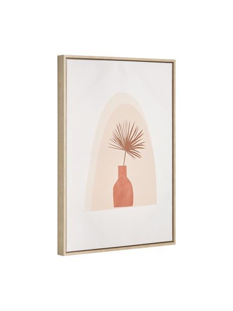 Stampa digitale incorniciata Izem Flower, Cornice: pannello di fibra a media, Immagine: tela, Bianco, beige, rosa, Larg. 50 x Alt. 70 cm