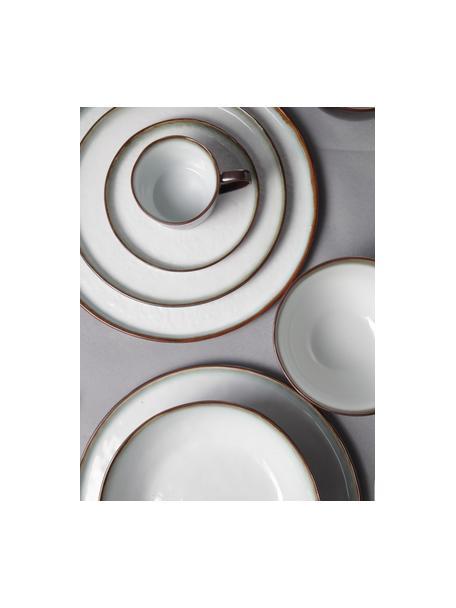 Platos de postre de gres Plato, 6uds., Gres, Marrón, blanco, Ø 22 cm