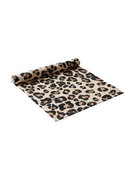 Katoenen tafelloper Jill met luipaarden print, Katoen, Beige, zwart, 40 x 140 cm