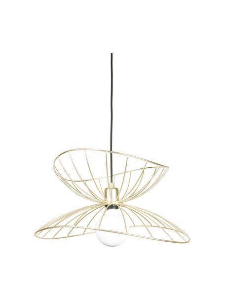 Lámpara de techo de diseño Ray, Pantalla: metal latón cepillado, Anclaje: metal pintado, Cable: cubierto en tela, Latón cepillado, Ø 45 x Al 25 cm