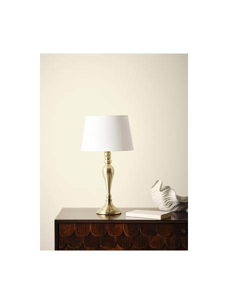 Grote tafellamp Brighton in messing, Lampenkap: katoen, Lampvoet: gelakt metaal, Wit, messingkleurig, Ø 25 x H 52 cm