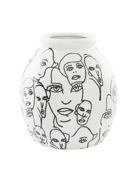 Designvase People in Weiß und Schwarz, Keramik, Weiß, Schwarz, Ø 18 x H 21 cm