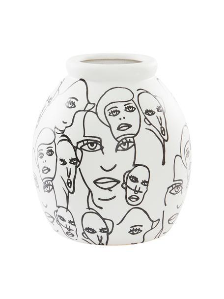 Keramische vaas People in wit en zwart, Keramiek, Wit, zwart, Ø 18 x H 21 cm