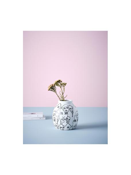Wazon z ceramiki People, Ceramika, Biały, czarny, Ø 18 x W 21 cm