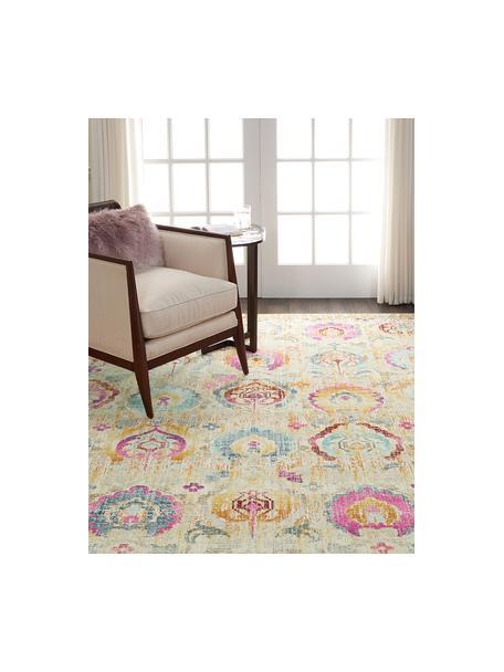 Niederflor-Teppich Kashan Vintage mit bunten Ornamenten, Flor: 100% Polypropylen, Beige, Mehrfarbig, B 120 x L 180 cm (Größe S)