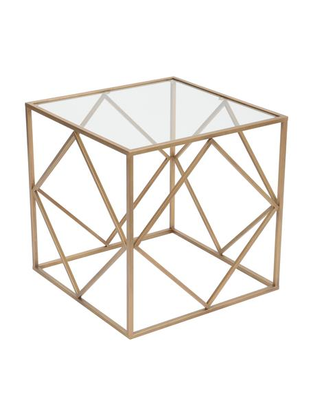 Stolik kawowy Cubo, Blat: szkło, Stelaż: metal powlekany, Odcienie złotego, transparentny, S 50 x G 50 cm