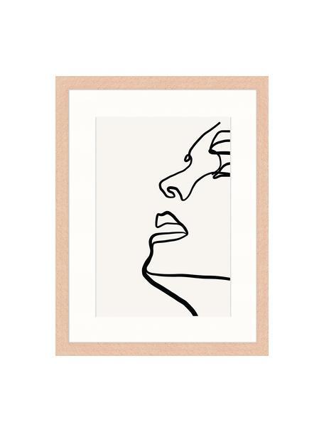 Stampa digitale incorniciata Half Me, Immagine: stampa digitale su carta,, Cornice: legno verniciato, Grigio chiaro, nero, Larg. 33 x Alt. 43 cm